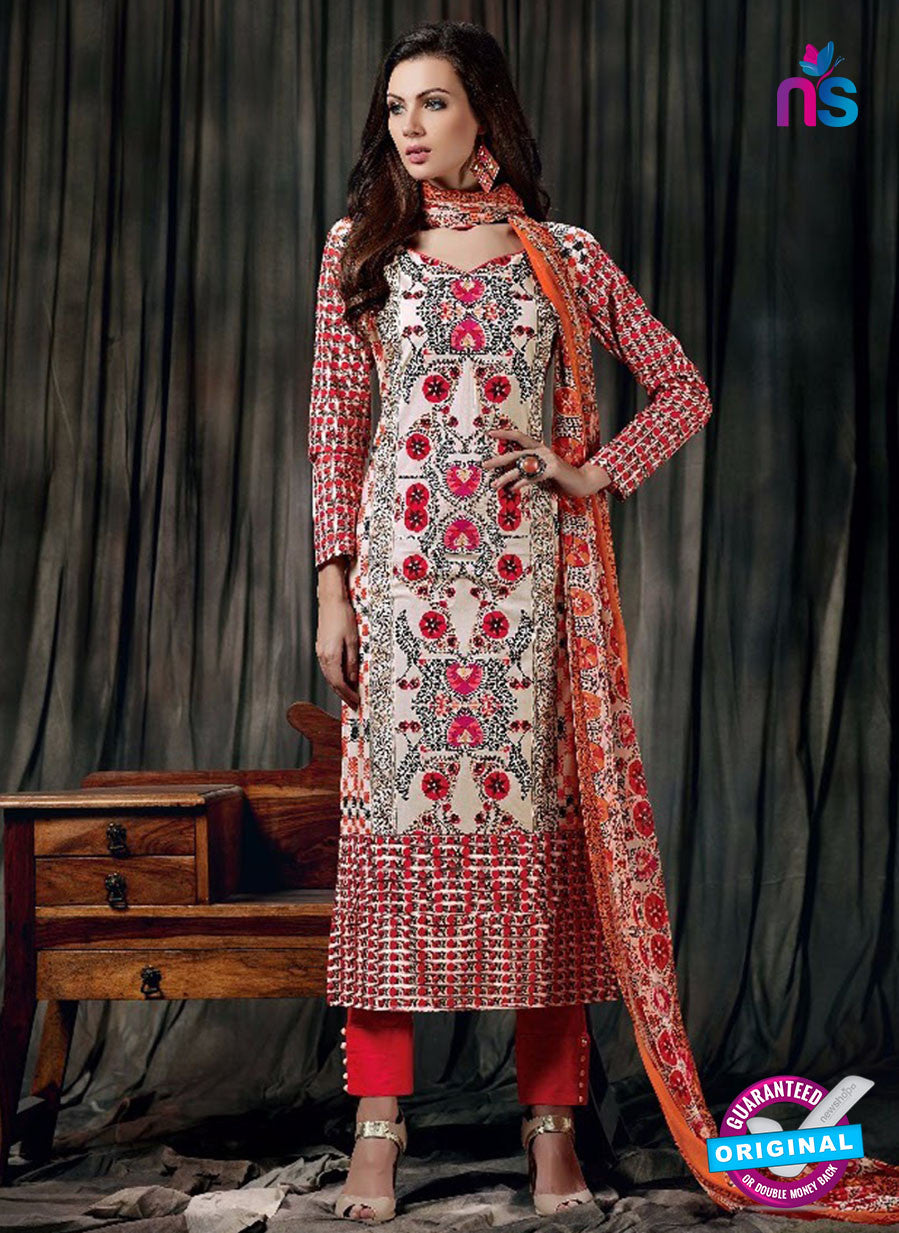 SC 12620 Multicolor and Red Printed Cambric Pakistani Suit
