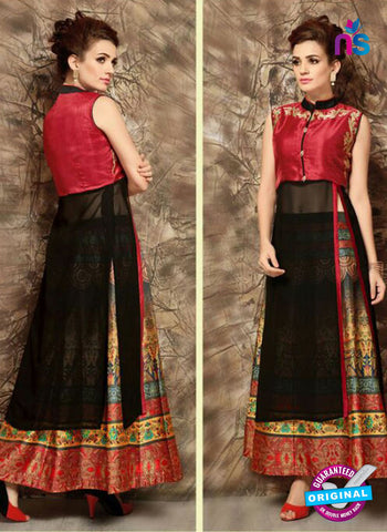 SC 14286 Black and Red Designer Kurti With Lehenga