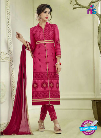 SC 12506 Magenta and Maroon Embroidered Glace Cotton Straight Suit