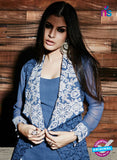 NS Rabia 12448 Blue and Beige Georgette Party Wear Suit