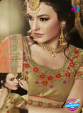 AZ 3582 Beige and Orange Net Party Wear Saree - Sarees - NEW SHOP
