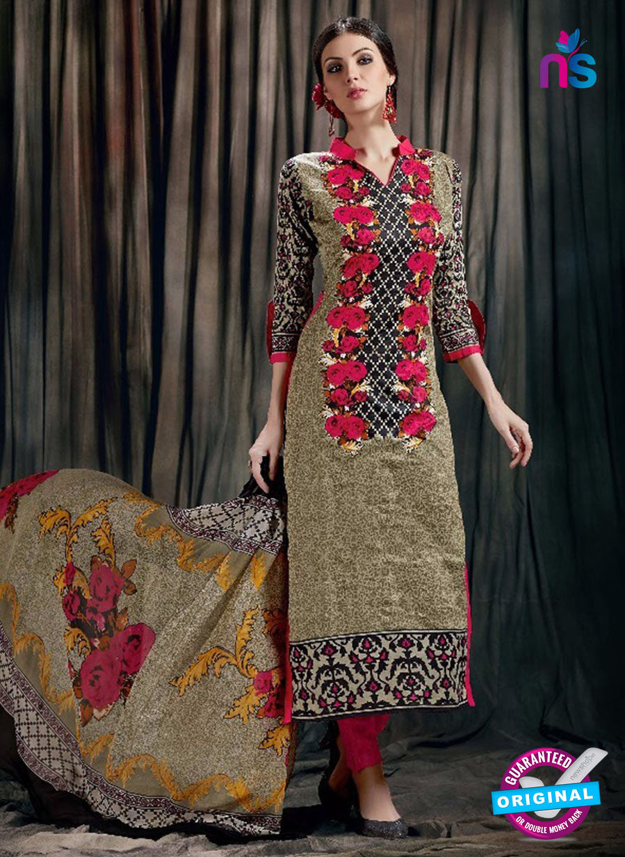 SC 12627 Red and Multicolor Printed Cambric Pakistani Suit