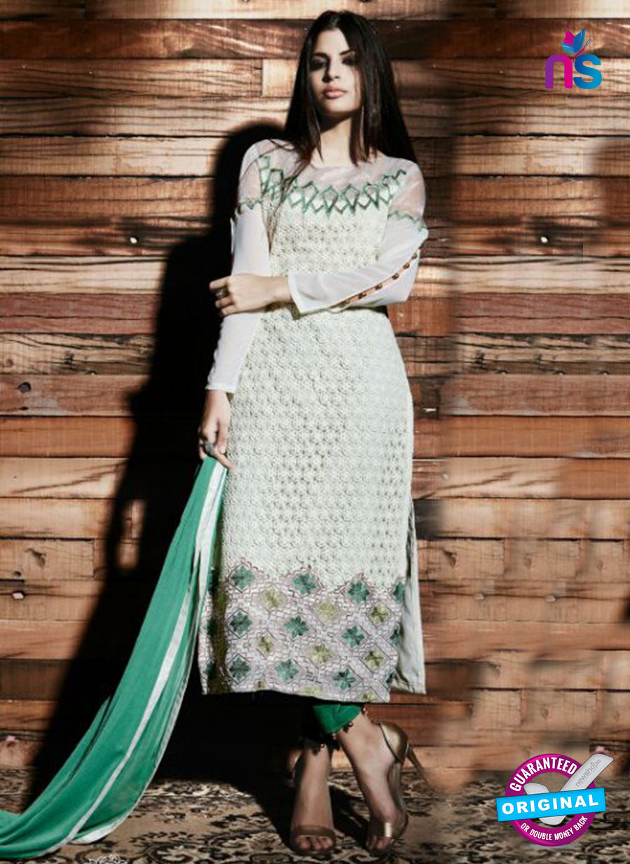 NS Rabia 12449 Green and Beige Georgette Party Wear Suit