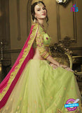 AZ 3583 Green and Pink Net Party Wear Saree - Sarees - NEW SHOP