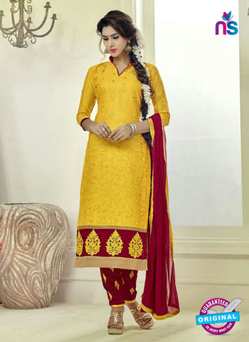 SC 12504 Yellow and Maroon Embroidered Glace Cotton Straight Suit