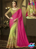 AZ 3583 Green and Pink Net Party Wear Saree