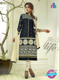 SC 12507 Black and Beige Embroidered Glace Cotton Straight Suit
