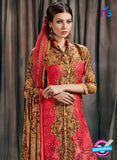 SC 12626 Red and Brown Printed Cambric Pakistani Style Suit
