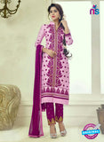 SC 12511 Pink and Purple Embroidered Glace Cotton Straight Suit