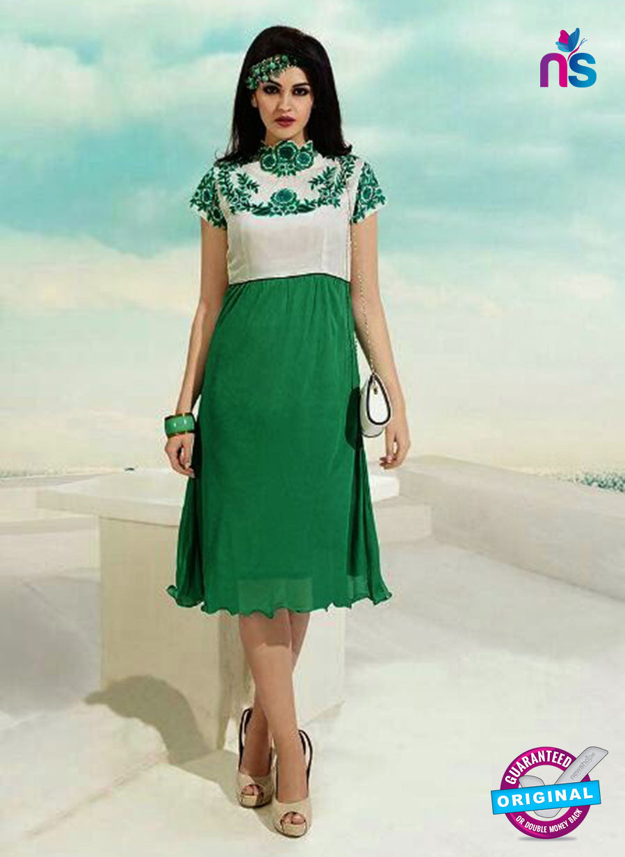 NS10503  Green and White Georgette Embroidery Kurti