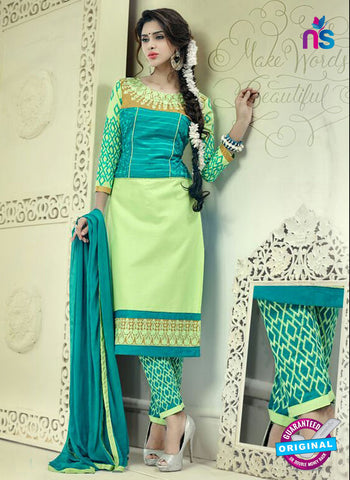 SC 12514 Sky Blue and Green Embroidered Glace Cotton Straight Suit Online
