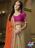 AZ 3587 Beige and Orange Net Party Wear Saree - Sarees - NEW SHOP