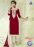 SC 12515 Maroon and Beige Embroidered Glace Cotton Straight Suit