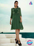 NS10504  Green Georgette Embroidery Kurti