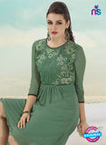 NS10504  Green Georgette Embroidery Tunic