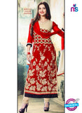 NS10983 B Red Georgette Straight Suit