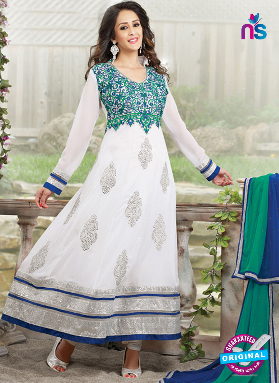 SC 13174 White and Blue Anarkali Suit