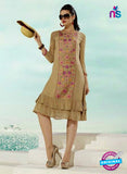 NS10505  Brown Georgette Embroidery Kurti