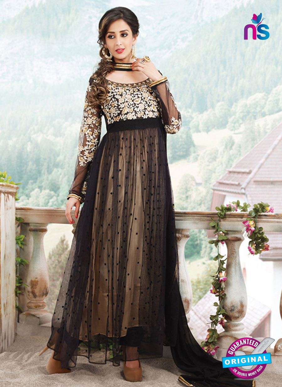 SC 13176 Black and Beige Anarkali Suit