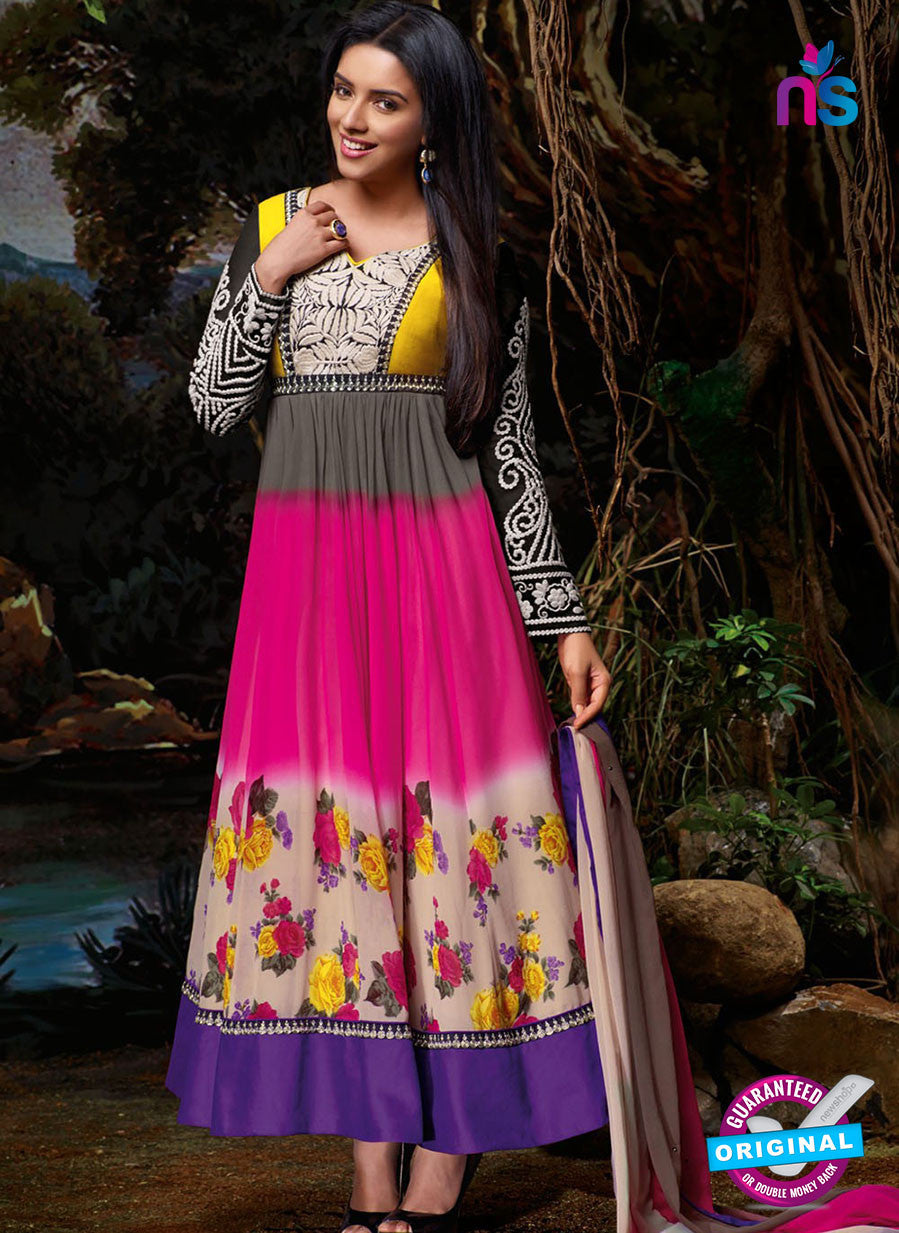NS10111 Yellow and Multicolor Party Wear Georgette Aanarkali Suit