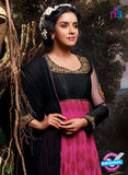 NS10112 Black and Magenta Party Wear Georgette Aanarkali Suit