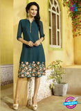 SC 13407 Green Designer Traditional Party Wear Fancy Kurti