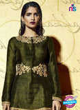 SC 12822 Green and Brown Embroidered Bhagalpuri Wedding Wear Designer Suit