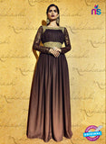SC 12823 Brown Embroidered Moss Georgette Weddding Wear Designer Gawn