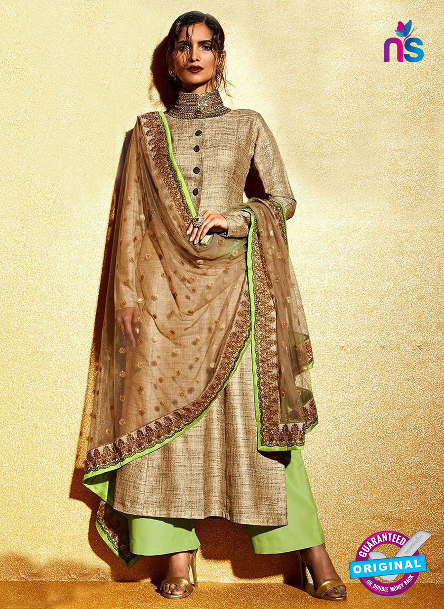 SC 12323 Brown and Green Embroidered Khadi with Stone Work Designer Suit