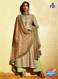 AZ 1034 Brown And Green Embroidered Khadi Pakistani Suit