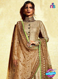 AZ 1034 Brown And Green Embroidered Khadi Pakistani Suit - Salwar Suits - NEW SHOP