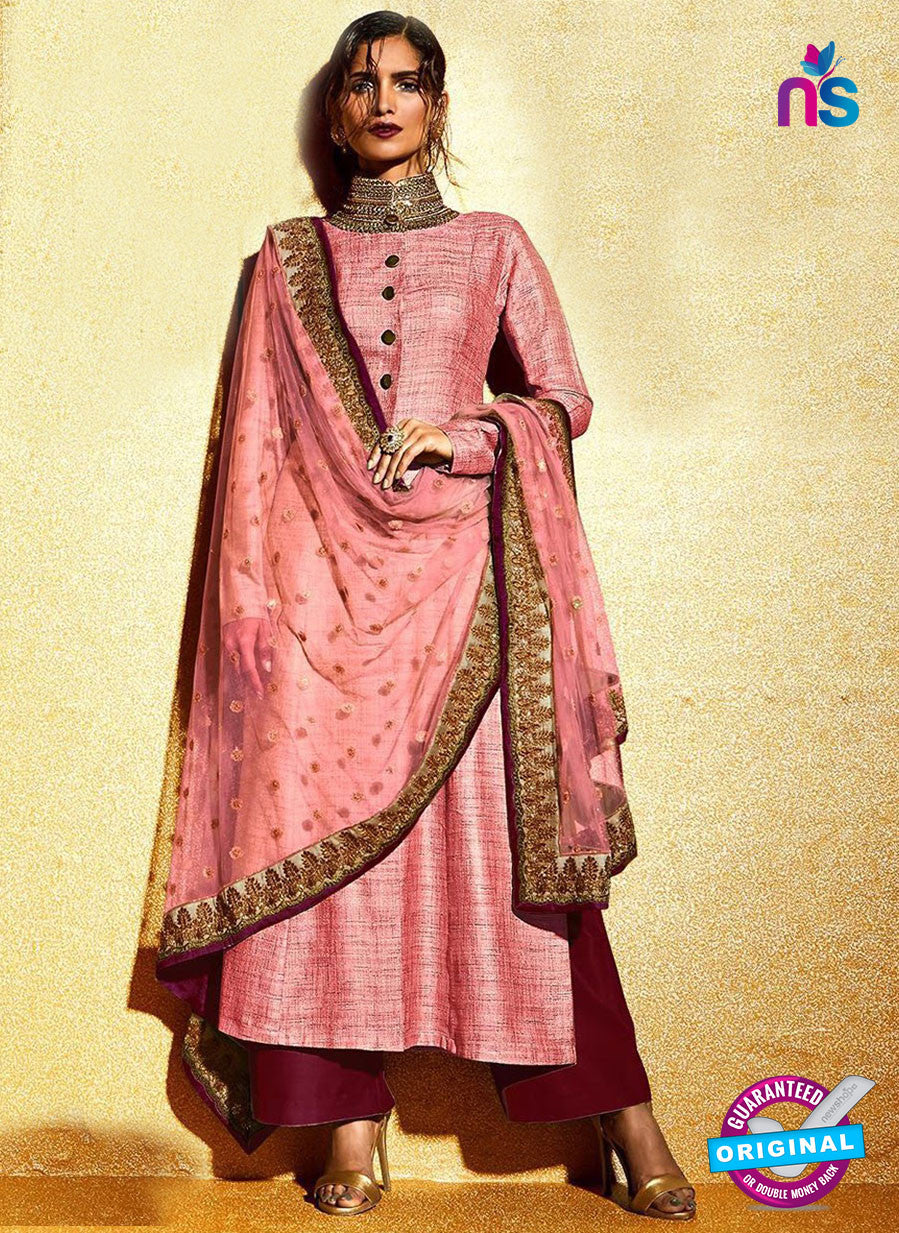 SC 12321 Pink and Maroon Embroidered Khadi with Stone Work Designer Suit