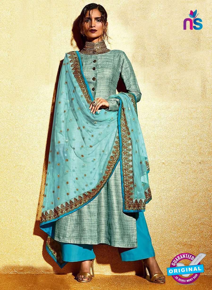 SC 12319 SkyBlue Embroidered Khadi with Stone Work Designer Suit