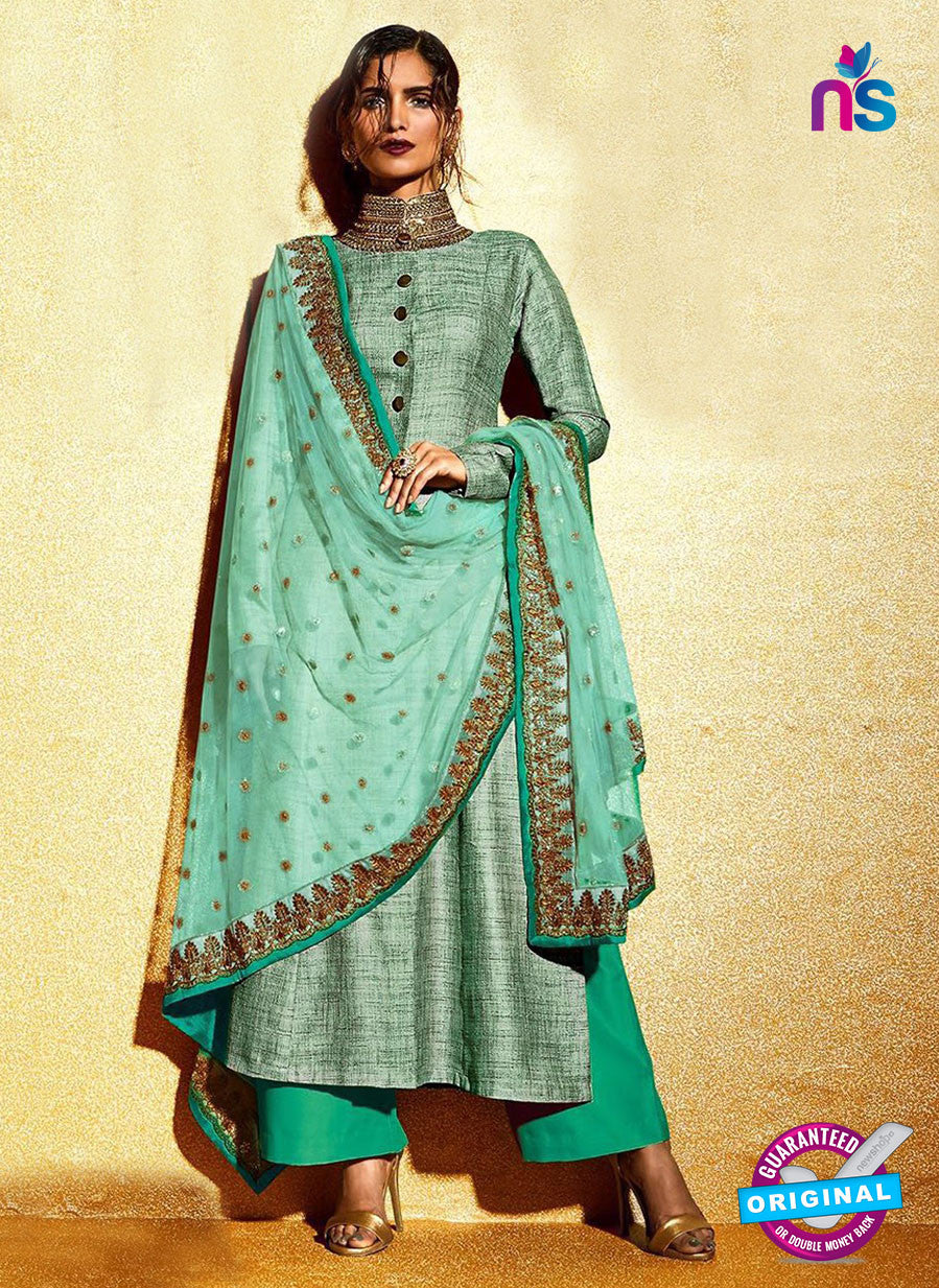 AZ 1037  Sea Green Embroidered Khadi Pakistani Suit