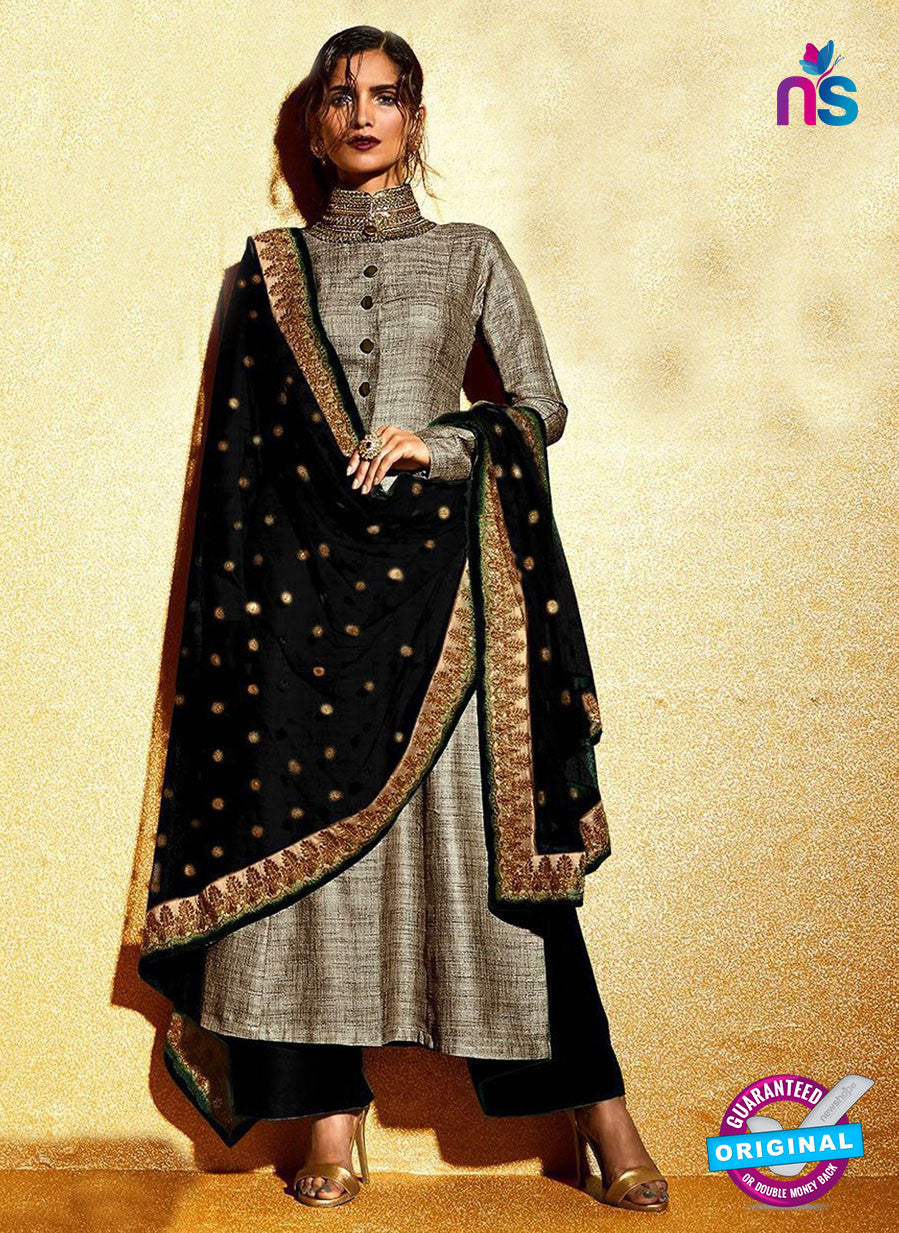 SC 12322 Grey and Black Embroidered Khadi with Stone Work Designer Suit
