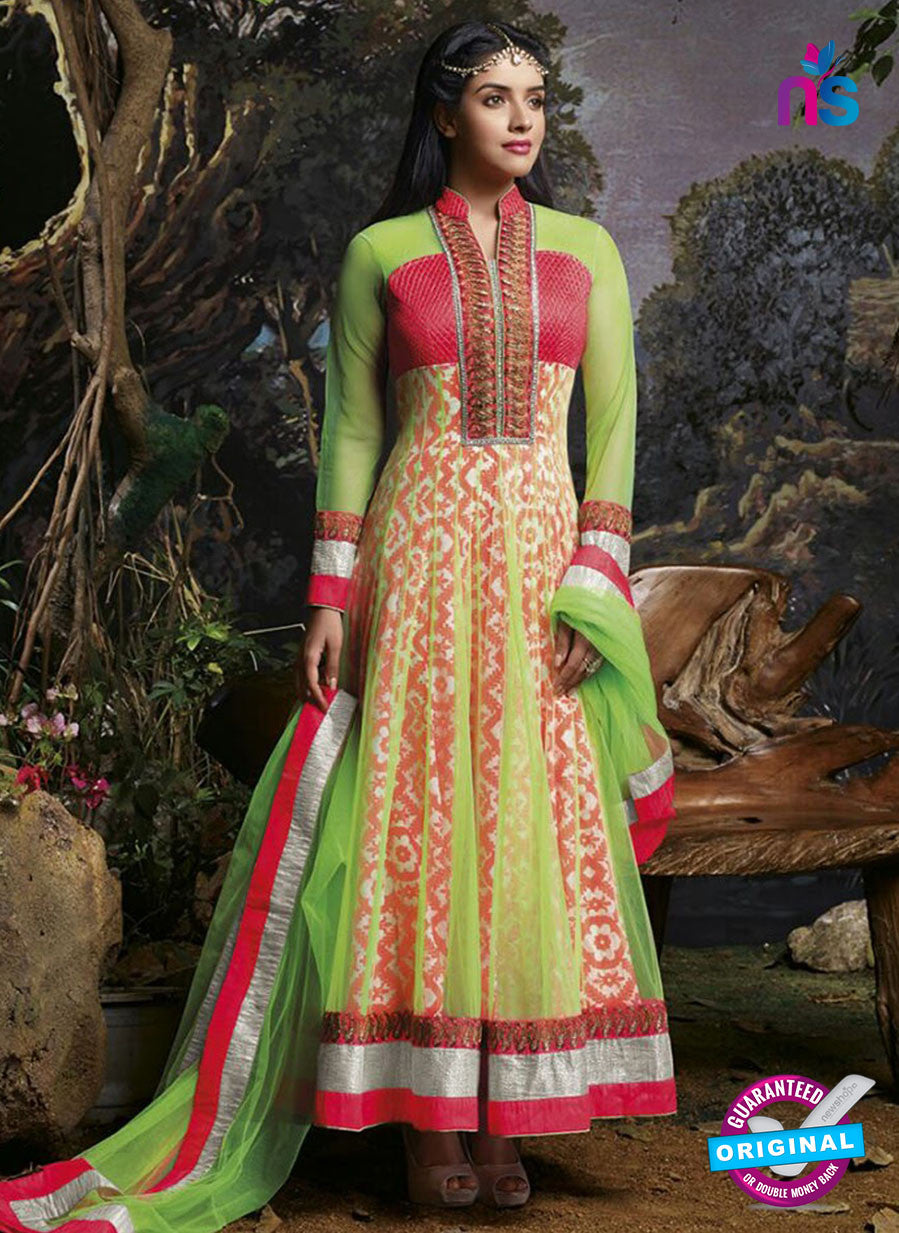 SC 13134 Red and Green Party Wear Georgette and Net Anarkali Suit