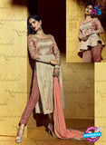 SC 12827 Peach and Beige Embroidered Bhagalpuri Weddding Wear Designer Suit