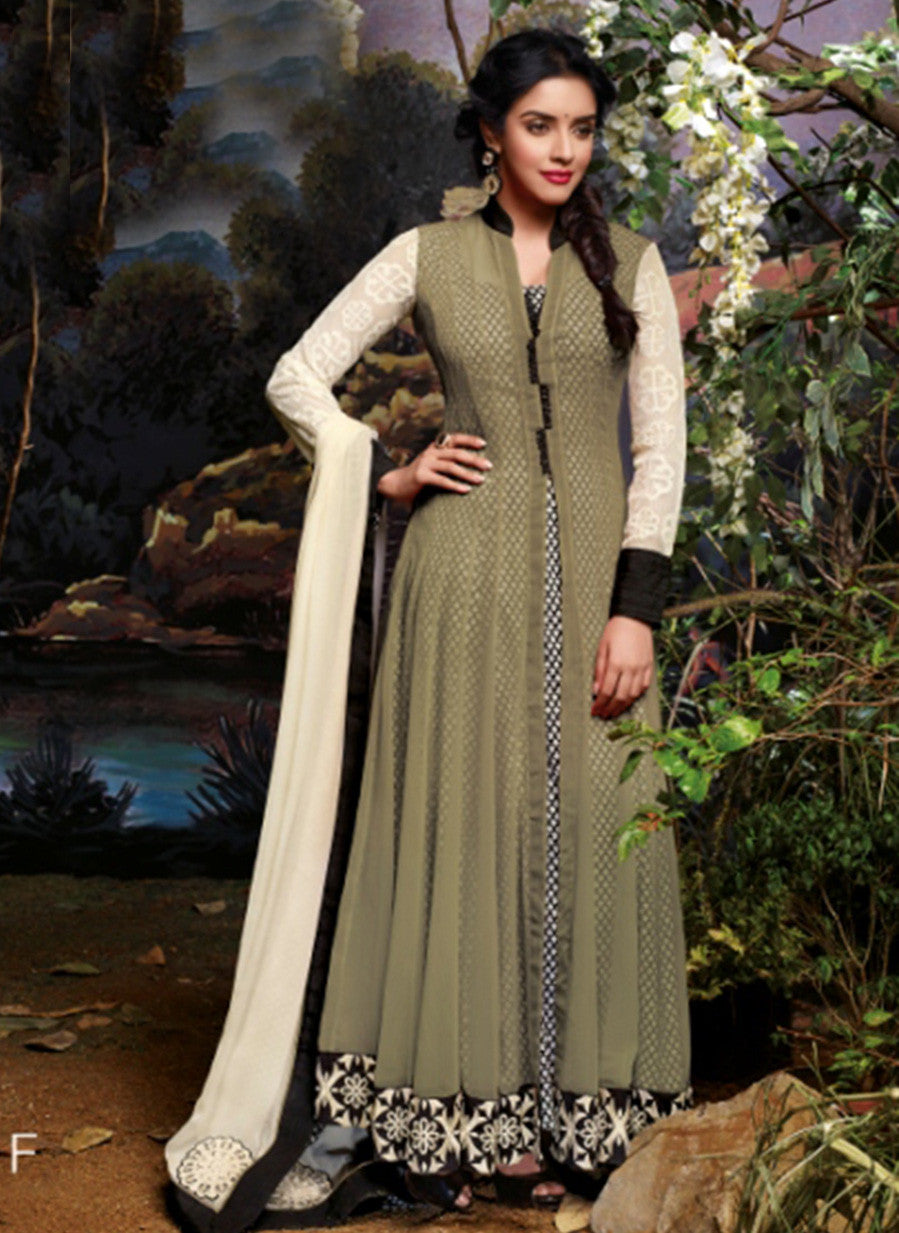 Jinaam 3034 F Grey Color Net Georgette Designer Suit