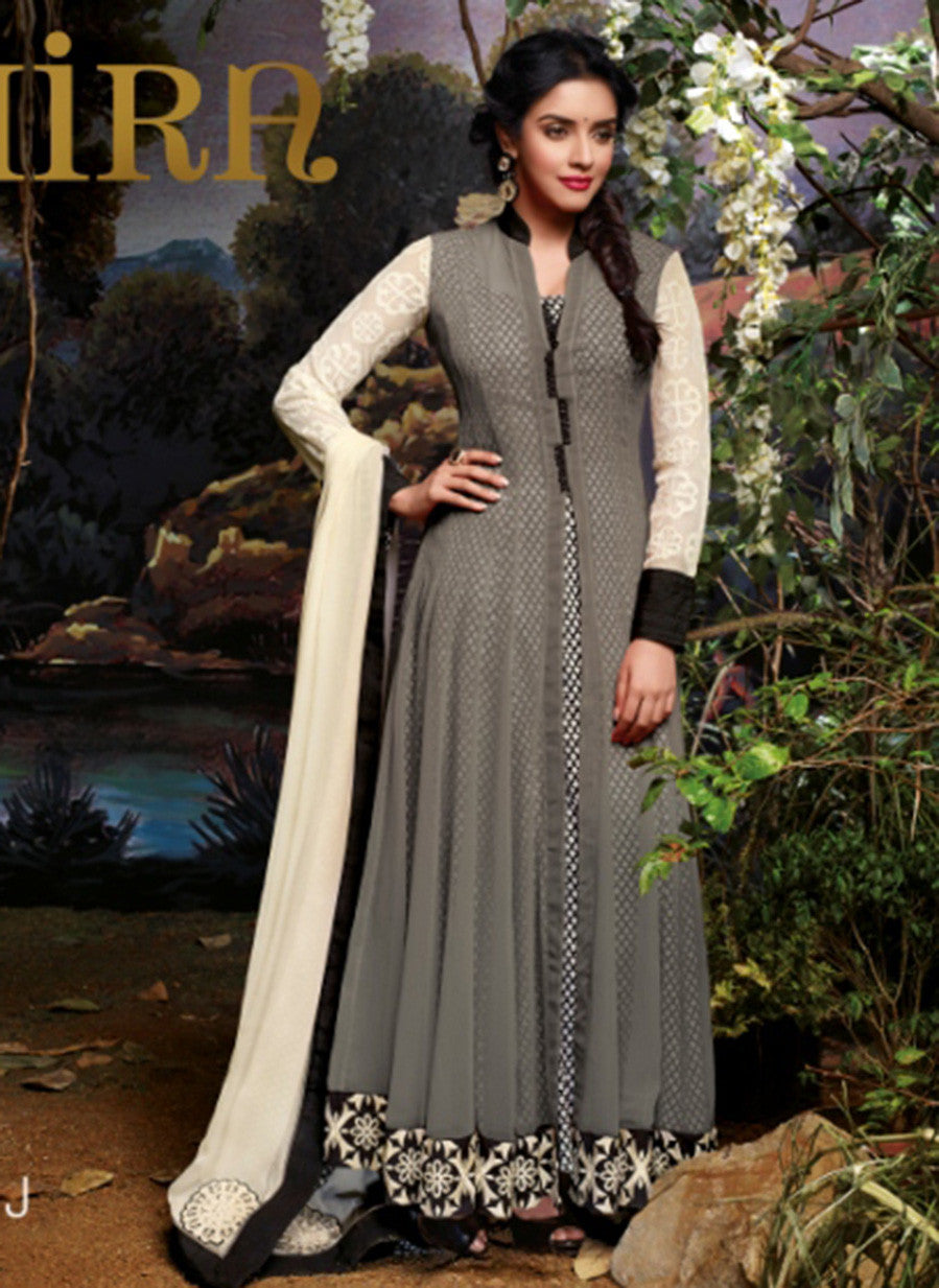 Jinaam 3034 J Grey Color Net Georgette Designer Suit