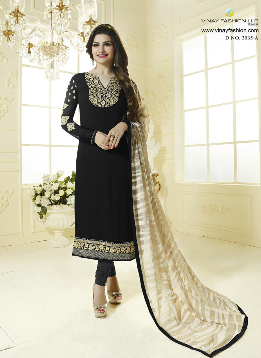 Vinay Fashion 3035A Black Color Georgette Designer Suit