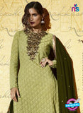 SC 12825 Green Embroidered Net Weddding Wear Designer Suit Online