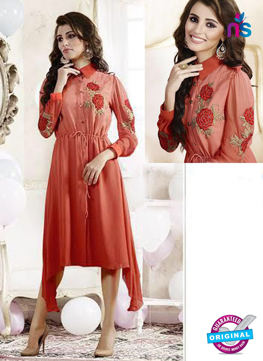 SC 13173 Red Party Wear Embroidered Georgette Kurti