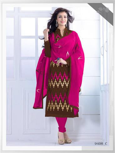 NS11548 C Brown and Magenta Party Wear Silk Chanderi Straight Suit