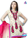 NS12221 Ivory and DeepPink Georgette Jacquard Dress Material