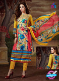 SC 13898 Yellow and Multicolor Glace Cotton Latest Designer Fancy Straight Suit