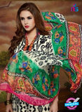 SC 13899 White and Multicolor Glace Cotton Latest Designer Fancy Straight Suit