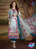 SC 13894 Grey and Multicolor Glace Cotton Latest Designer Fancy Straight Suit