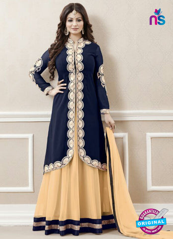 AZ 3327 Blue and Beige Faux Georgette Fancy Designer Indo Western Suit