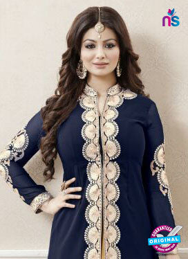 AZ 3327 Blue and Peach Faux Georgette Fancy Designer Indo Western Suit
