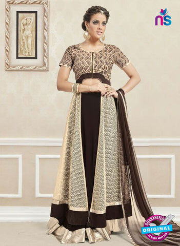 AZ 3328 Brown and Beige Faux Georgette Fancy Designer Indo Western Suit